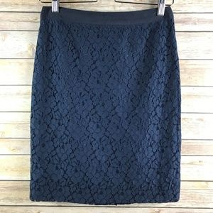 J. Crew Navy The Pencil Skirt Floral Lace (SK149)